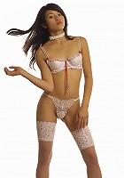 Brunette stunner in her sexy white lingerie