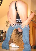 Curly haired teen girl in the PILEDRIVER
