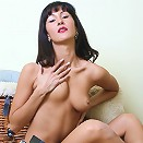 Brunette girl filming her naked sensual body on camera
