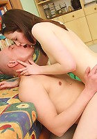Shagging a horny teenage brunette