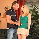 Blonde cutie strips and rides cock