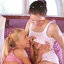 Innocent cuties undress and finger