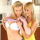 Tania and Hanna - Gorgeous teens fuck toys in kitchen