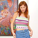 Seductive teen redhead posing naked